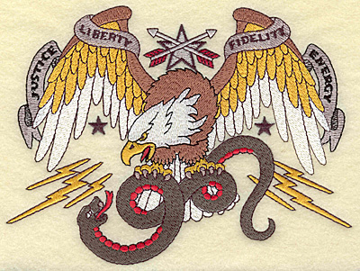 Embroidery Design: American Eagle with snake 6.59w X 4.92h