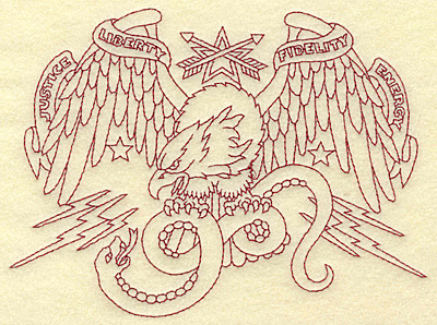 Embroidery Design: American Eagle with snake redwork 6.65w X 4.95h