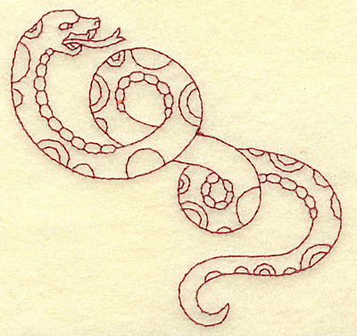 Embroidery Design: Snake redwork 3.87w X 3.75h