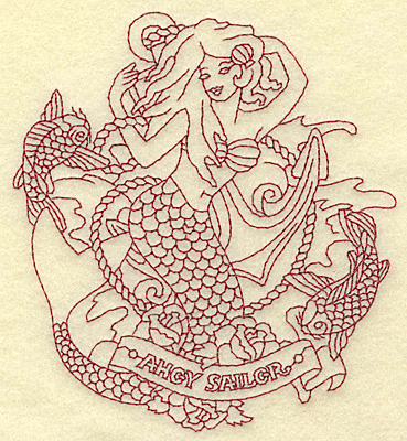 Embroidery Design: Mermaid redwork 4.52w X 4.97h