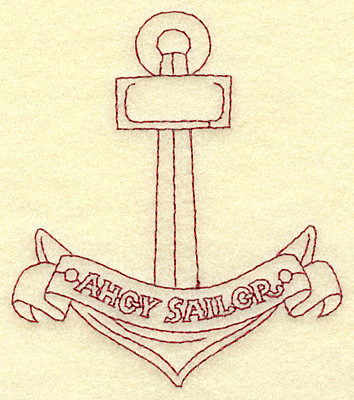 Embroidery Design: Anchor Ahoy Sailor redwork 3.39w X 3.87h