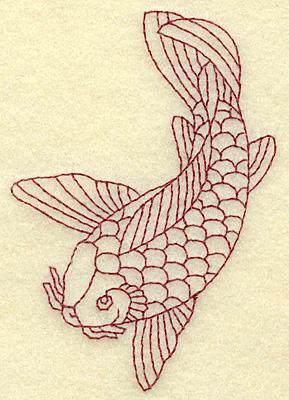 Embroidery Design: Koi redwork 2.70w X 3.89h