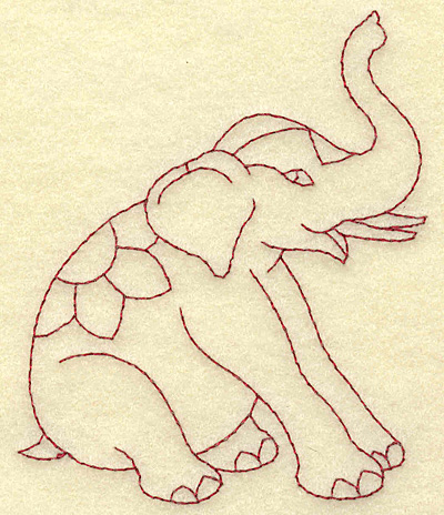 Embroidery Design: Elephant redwork 3.33w X 3.85h