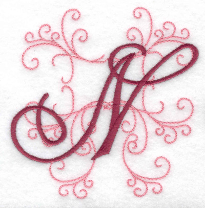 Embroidery Design: N small 3.88w X 3.88h