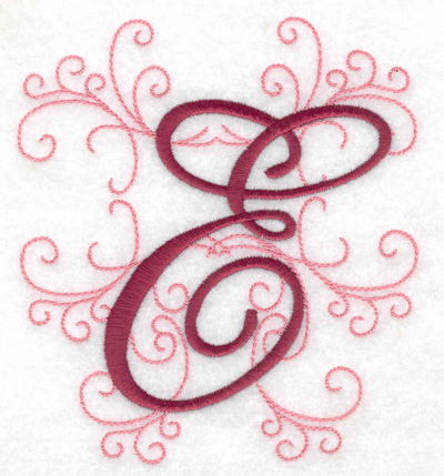 Embroidery Design: E large 4.46w X 4.97h