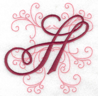Embroidery Design: H large 4.82w X 4.97h