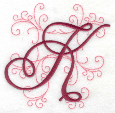 Embroidery Design: K large 4.97w X 4.97h