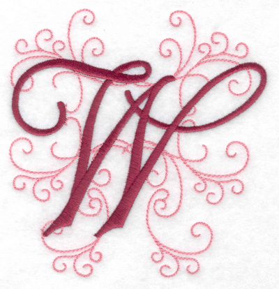 Embroidery Design: W large 4.74w X 4.97h