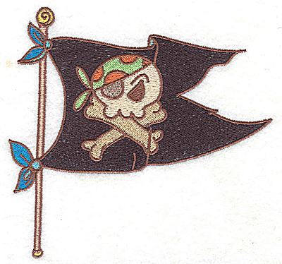 Embroidery Design: Pirate's flag large  4.99w X 4.76h