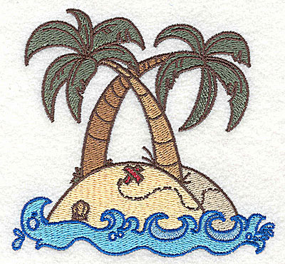 Embroidery Design: Island with palm trees small 3.86w X 3.66h
