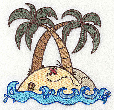 Embroidery Design: Island with palm trees large 4.98w X 4.73h