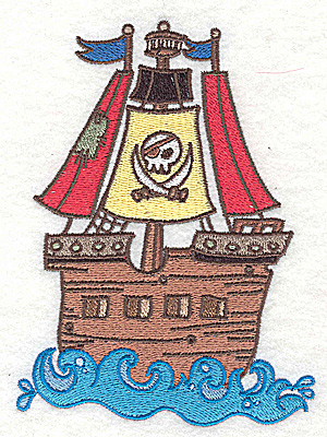 Embroidery Design: Jolly Roger large 3.71w X 4.97h