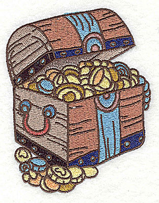 Embroidery Design: Pirate's treasure chest small 3.05w X 3.89h