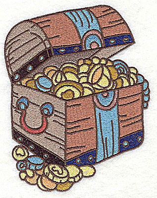 Embroidery Design: Pirate's treasure chest large 3.90w X 4.97h
