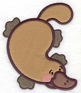Embroidery Design: Platypus double applique 4.12w X 4.95h