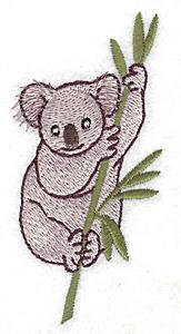 Embroidery Design: Koala in eucalyptus tree small 1.87w X 3.88h