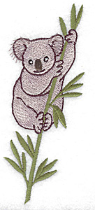 Embroidery Design: Koala in eucalyptus tree medium 1.99w X 4.98h