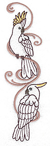 Embroidery Design: Cockatoo pair 2.09w X 6.91h
