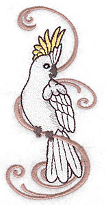 Embroidery Design: Cockatoo with vertical design 2.11w X 4.78h