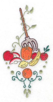 Embroidery Design: Pitchfork with fruit veggies and swirls 2.47w X 4.96h