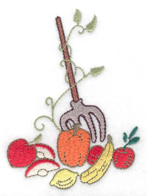 Embroidery Design: Pitchfork with fruit veggies and vines 2.86w X 3.89h