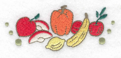 Embroidery Design: Apples pumpkins and gourds 3.53w X 1.49h