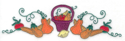 Embroidery Design: Basket with fruits and gourds 6.91w X 1.96h
