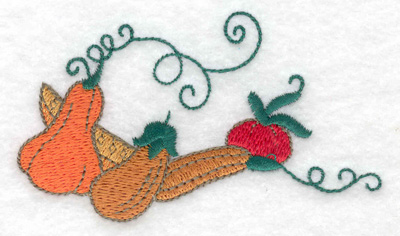 Embroidery Design: Squash gourds and tomatos 3.76w X 2.16h