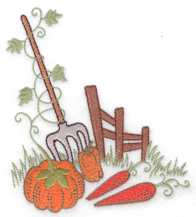 Embroidery Design: Fence pumpkins and carrots 4.42w X 4.97h