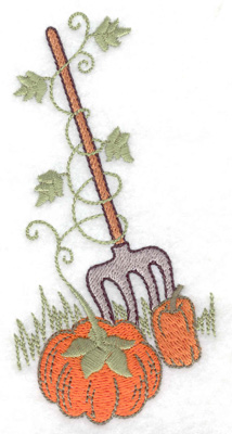 Embroidery Design: Pitchfork and pumpkins 2.52w X 4.97h