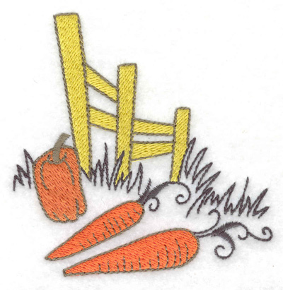 Embroidery Design: Fence with pumpkin and carrots 3.53w X 3.56h