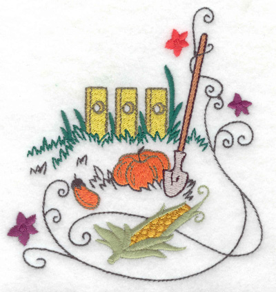 Embroidery Design: Fence with shovel and veggies 4.60w X 4.95h