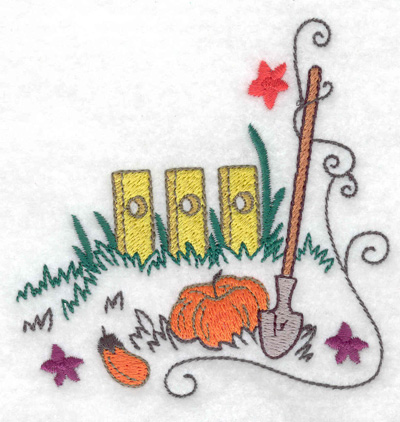Embroidery Design: Fence with shovel and pumpkin 3.86w X 3.87h