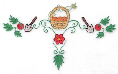 Embroidery Design: Fruit basket with trowels 6.95w X 4.19h