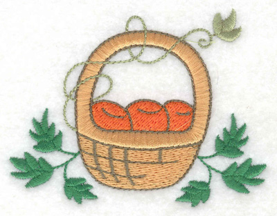 Embroidery Design: Fruit basket with leaves 3.66w X 2.83h