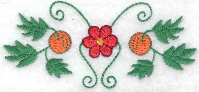 Embroidery Design: Flower with apples 3.88w X 1.75h