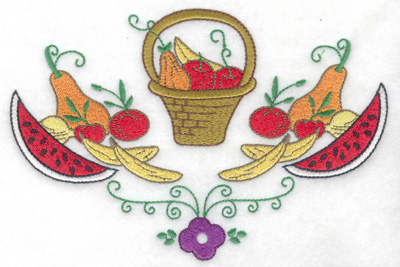 Embroidery Design: Basket with fruit veggies and flower 6.88w X 4.60h