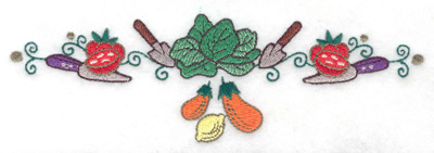 Embroidery Design: Lettuce trowels knives and veggies 6.94w X 2.16h