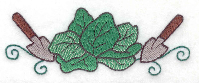 Embroidery Design: Lettuce with trowels 3.86w X 1.43h
