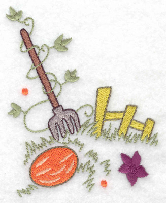 Embroidery Design: Fence with pitchfork 3.07w X 3.87h