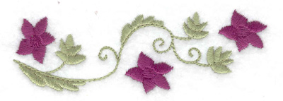 Embroidery Design: Flowers and leaves 3.88w X 1.27h