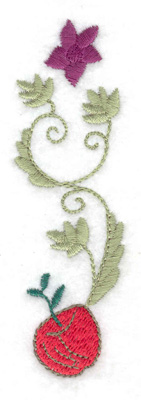 Embroidery Design: Apple flower and leaves 1.23w X 3.88h