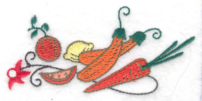 Embroidery Design: Veggies and fruit 3.81w X 1.91h