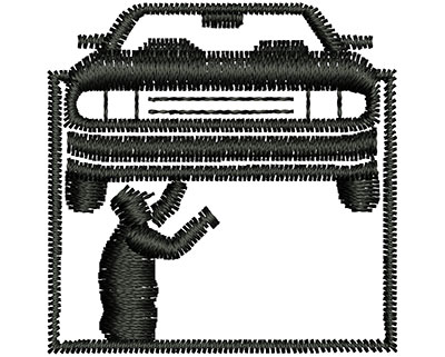 Embroidery Design: Mechanic Fixing Car 1.29w X 1.30h