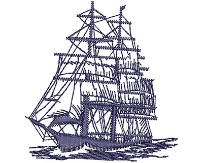 Embroidery Design: Ship 2.35w X 2.45h