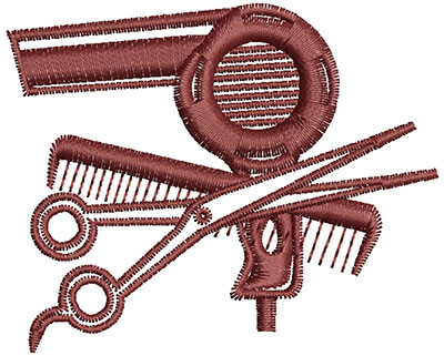 Embroidery Design: Hairdresser Tools 2.47w X 2.00h