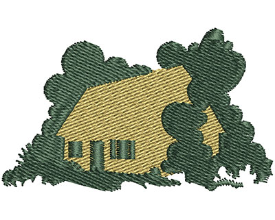 Embroidery Design: House In Woods 2.25w X 1.36h