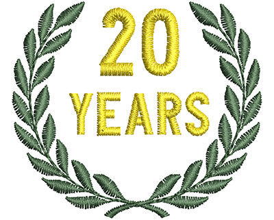 Embroidery Design: 20 Years 1.76w X 1.52h