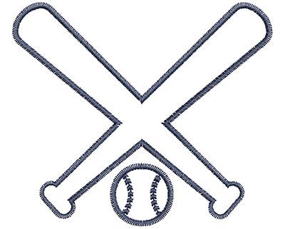 Embroidery Design: Crossed Baseball Bats 3.37w X 2.91h