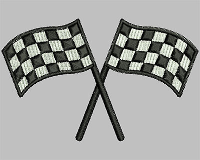 Embroidery Design: Crossed Flags 3.04w X 1.90h